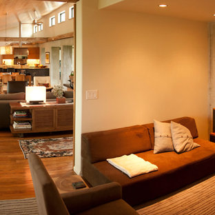 Mid-sized minimalist open concept medium tone wood floor and brown floor family room photo in Other with white walls, a plaster fireplace and no tv