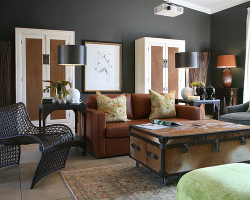 Gray Walls Brown Furniture Home Design Ideas, Pictures