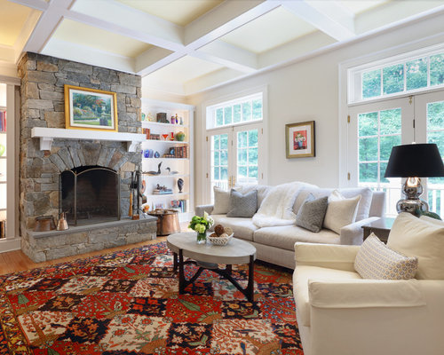Large Elegant Enclosed Medium Tone Wood Floor And Brown Floor Family Room  Photo In New York Part 37