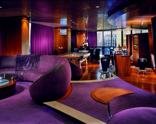 Eclectic Carpeted And Purple Floor Game Room Photo In Vancouver