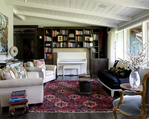 Inspiration For A Contemporary Family Room Remodel In Denver With Music Area