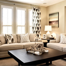 Contemporary Family Room by J & J Design Group, LLC.