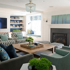 Beach Style Family Room by Kristina Crestin Design