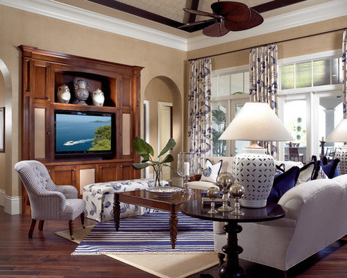 dark wood floor family room. Inspiration for a timeless open concept dark wood floor and brown  family room remodel in Dark Wood Entertainment Center Houzz