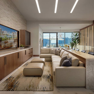 Example of a trendy open concept white floor family room design in Miami with white walls, no fireplace and a wall-mounted tv