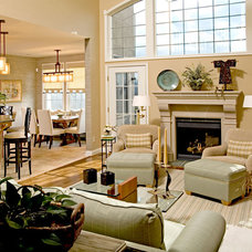 Transitional Family Room by J R Design Coordinates, LLC