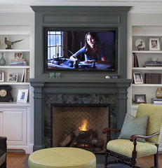 traditional family room by Julie Williams Design