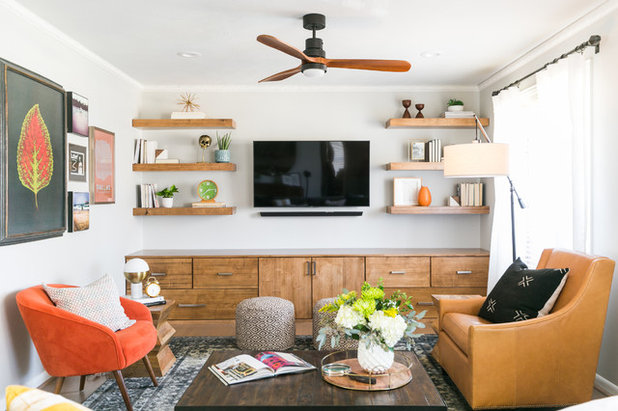 Transitional Family Room by ML Interiors Group