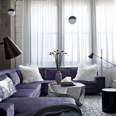 Example of a trendy family room design in Chicago with white walls, no fireplace and a wall-mounted tv
