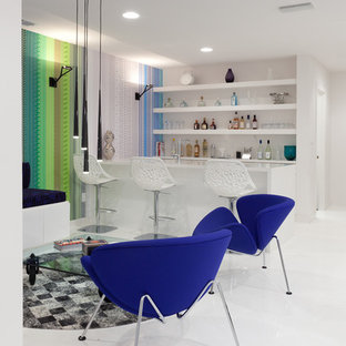 Example of a trendy white floor family room design in Sacramento