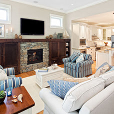 Beach Style Family Room by Mid Island Cabinets