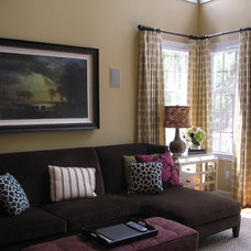 Transitional Family Room by Sew Fine II Custom Window Treatments and Interiors