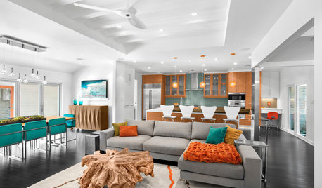 Houzz Tour: Citrus and Teal Energize a Midcentury Ranch