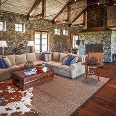 Rustic Family Room by Thompson Custom Homes