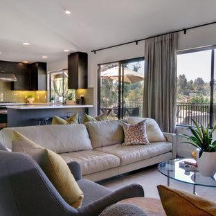 Diseño de sala de estar abierta, actual, con paredes blancas y suelo de madera en tonos medios