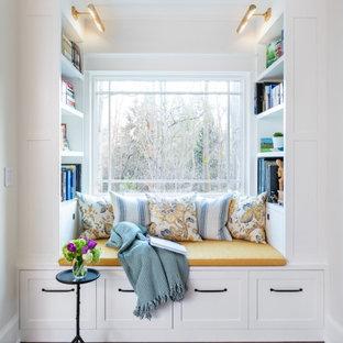 На фото: большая открытая гостиная комната в стиле современная классика с библиотекой, белыми стенами и полом из бамбука без камина, ТВ с