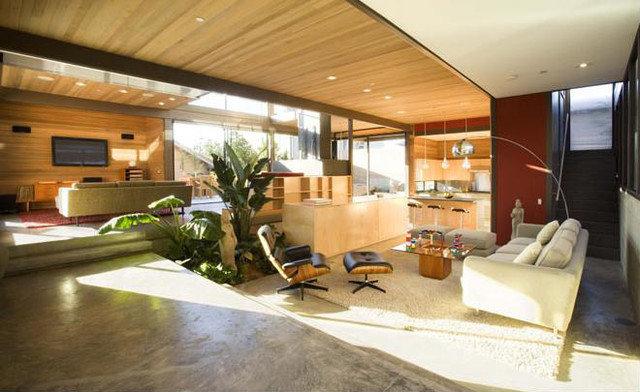 Modern Family Room Ray Kappe House interior