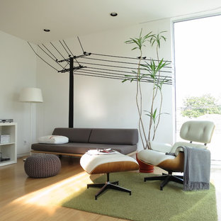 Inspiration for a modern light wood floor and beige floor family room remodel in Los Angeles with white walls