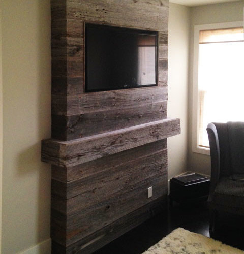 Reclaimed Barn Board Mantle And Fireplace Surround