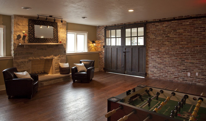 Eclectic Family Room by Gryboski Builders Inc.