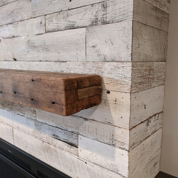 Reclaimed Distillery Wood fireplace wall planks