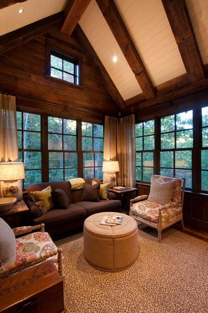 Rustic Family Room by Morgan-Keefe Builders, Inc.