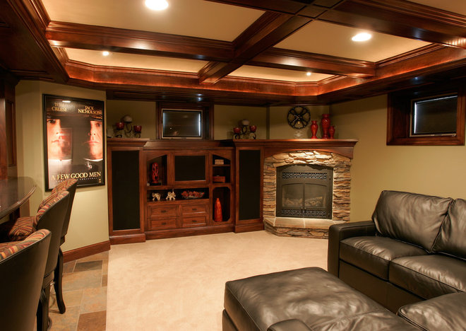 Contemporary Family Room by Kaufman Construction Design and Build