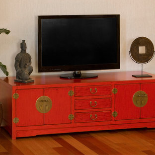Red Media Cabinet - Chinese Ming Style