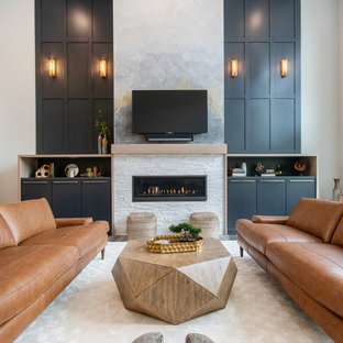 Family room - contemporary family room idea in Grand Rapids with white walls, a ribbon fireplace, a stone fireplace and a wall-mounted tv