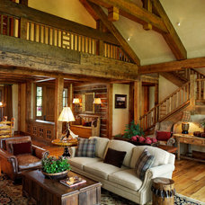 Rustic Family Room by TKP Architects