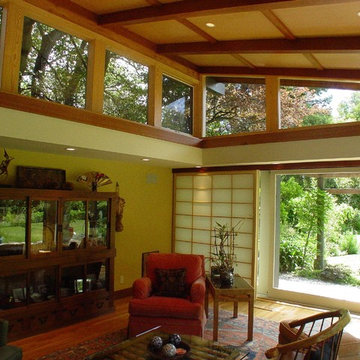 remodeled family room.Japanese style ceiling and shoji screen