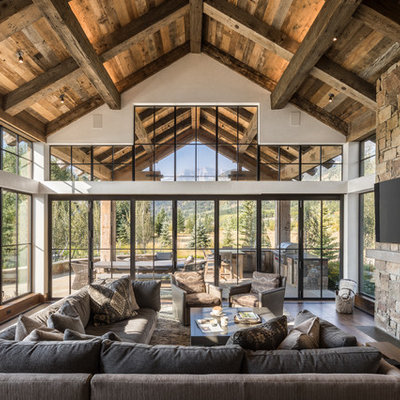 Mountain style dark wood floor family room photo in Jackson with a standard fireplace, a metal fireplace and a wall-mounted tv