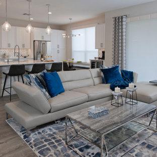Esempio di un soggiorno minimalista di medie dimensioni e aperto con pareti grigie, pavimento in laminato, TV a parete e pavimento grigio