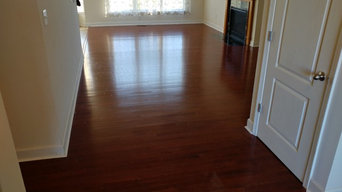 "Replace carpet with 2 1/4"" solid oak - cherry stain"