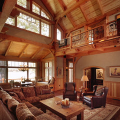 traditional family room by Bouril Design Studio, LLC