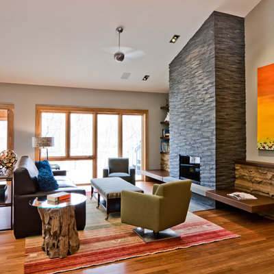 Family room - contemporary family room idea in Minneapolis with a stone fireplace