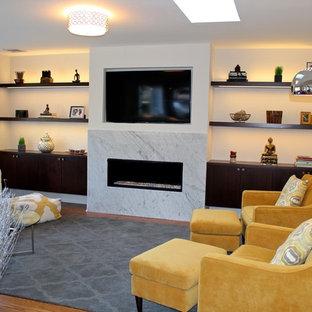 Immagine di un soggiorno minimalista di medie dimensioni e aperto con pareti grigie, pavimento in legno massello medio, camino lineare Ribbon, cornice del camino in pietra e TV a parete