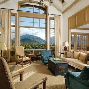 Modelo de sala de estar abierta, clásica, con paredes blancas