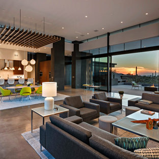 Large minimalist open concept concrete floor and gray floor family room photo in Phoenix with multicolored walls, a ribbon fireplace, a stone fireplace and a wall-mounted tv