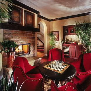 Tuscan family room photo in Orange County