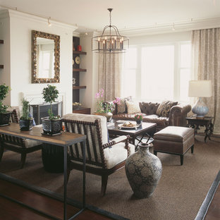 Inspiration for a contemporary dark wood floor family room remodel in Baltimore with a standard fireplace