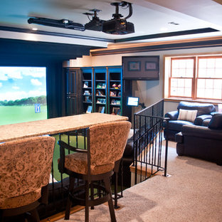 Game room - large transitional enclosed carpeted game room idea in Indianapolis with beige walls, no fireplace and a media wall
