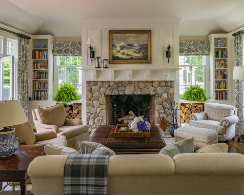 Family Room   Traditional Dark Wood Floor Family Room Idea In Boston With  Beige Walls,