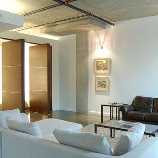 Modelo de sala de estar moderna con suelo de cemento y paredes blancas