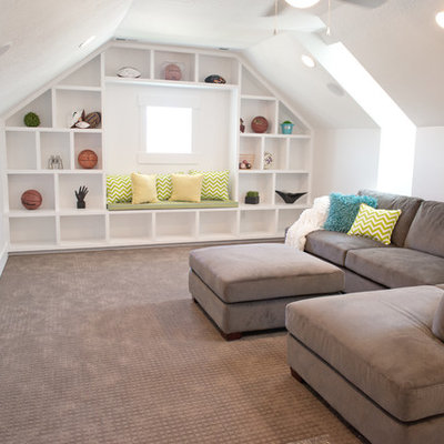 Example of a mid-sized arts and crafts enclosed carpeted family room library design in Salt Lake City with white walls, no fireplace and a wall-mounted tv