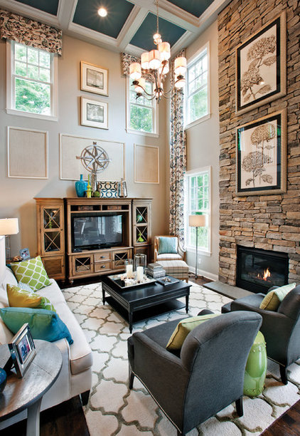Transitional Family Room by Mary Cook