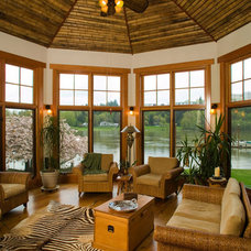 Eclectic Family Room by Riverland Homes Inc