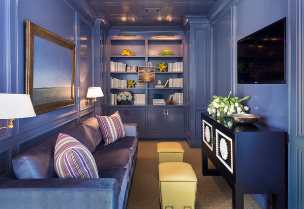 Transitional Family & Games Room by Tobi Fairley Interior Design