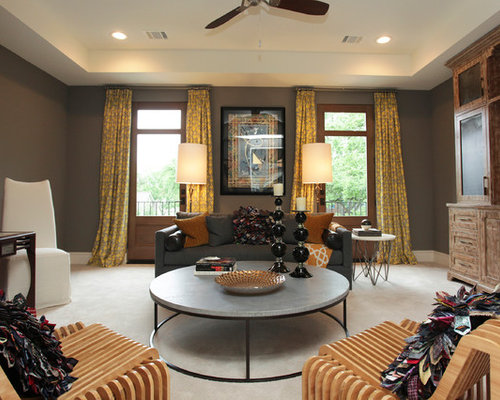 Example Of A Transitional Family Room Design In Houston With Gray Walls