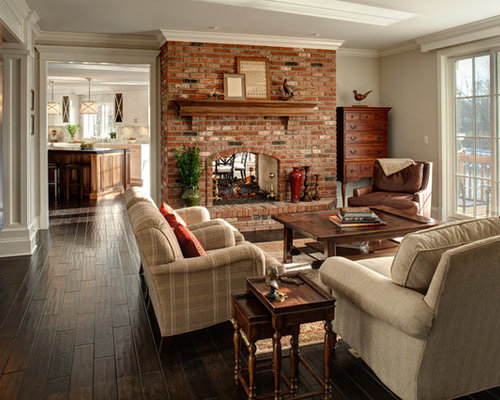 Brick Fireplace Decorating Ideas Inspiration For A Timeless Family Room Remodel In Chicago With Beige Walls Two